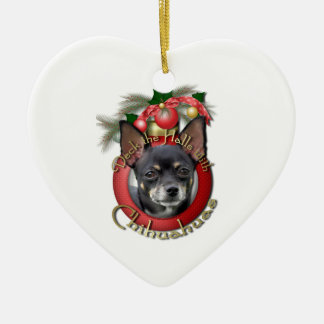 Christmas - Deck the Halls - Chihuahuas - Isabella Double-Sided Heart Ceramic Christmas Ornament