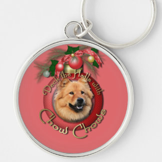 Christmas - Deck the Halls - Chows - Cinny Silver-Colored Round Keychain