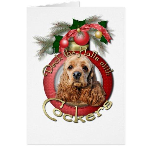 Christmas - Deck the Halls - Cockers Greeting Card