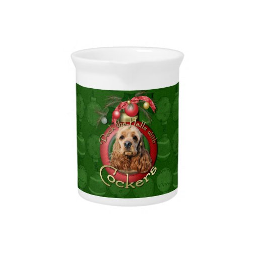 Christmas - Deck the Halls - Cockers Drink Pitcher