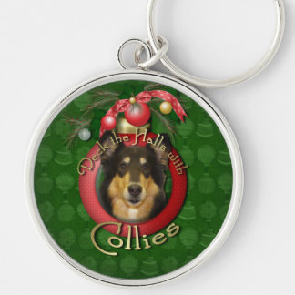 Christmas - Deck the Halls - Collie - Caroline Silver-Colored Round Keychain