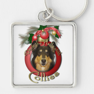 Christmas - Deck the Halls - Collie - Caroline Silver-Colored Square Keychain