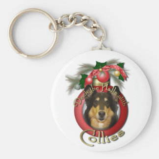 Christmas - Deck the Halls - Collie - Caroline Basic Round Button Keychain