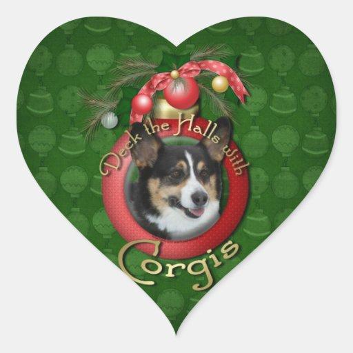 Christmas - Deck the Halls - Corgis Heart Stickers