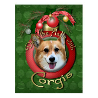 Christmas - Deck the Halls - Corgis - Owen Postcard