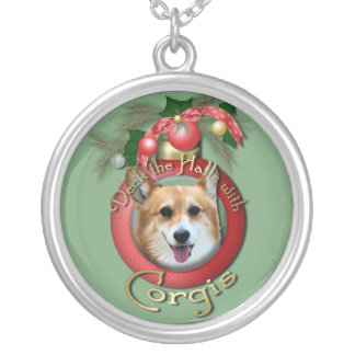 Christmas - Deck the Halls - Corgis - Owen Silver Plated Necklace