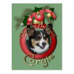 Christmas - Deck the Halls - Corgis Postcard