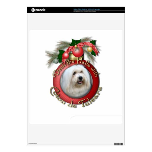 Christmas - Deck the Halls - Coton de Tulears Decal For The PS3 Slim