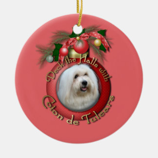 Christmas - Deck the Halls - Cotons Double-Sided Ceramic Round Christmas Ornament