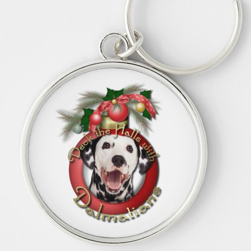 Christmas - Deck the Halls - Dalmatians Silver-Colored Round Keychain