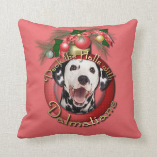 Christmas - Deck the Halls - Dalmatians Throw Pillow