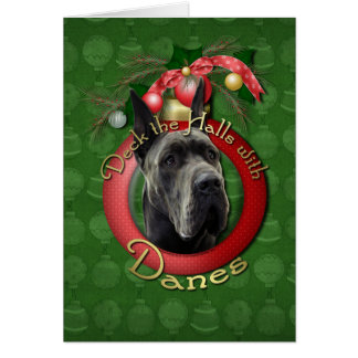 Christmas - Deck the Halls - Danes - Grey Greeting Card
