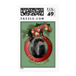 Christmas - Deck the Halls - Danes - Grey Postage Stamp