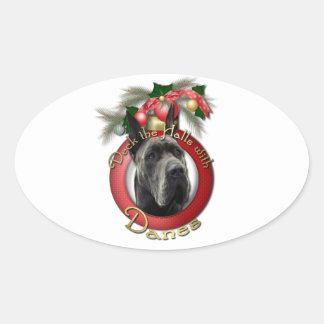 Christmas - Deck the Halls - Danes - Grey Oval Sticker