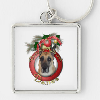 Christmas - Deck the Halls - Danes Silver-Colored Square Keychain