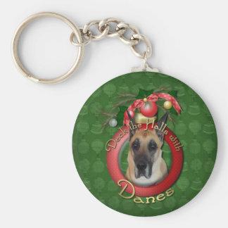 Christmas - Deck the Halls - Danes Basic Round Button Keychain