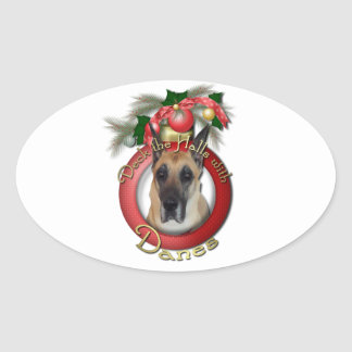 Christmas - Deck the Halls - Danes Oval Sticker