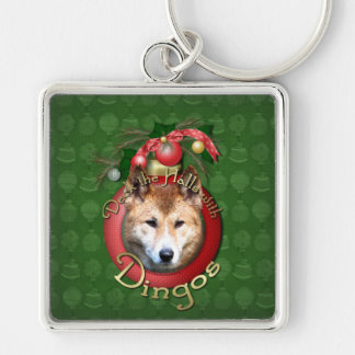 Christmas - Deck the Halls - Dingos Silver-Colored Square Keychain