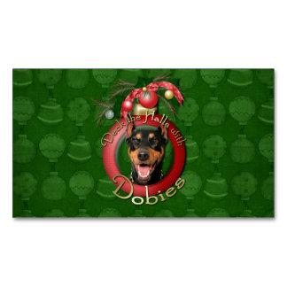 Christmas - Deck the Halls - Dobies - Megyan Business Card Magnet