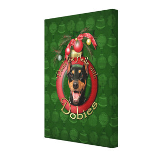 Christmas - Deck the Halls - Dobies - Megyan Canvas Print