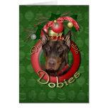 Christmas - Deck the Halls - Dobies - Rocky Greeting Card