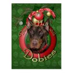 Christmas - Deck the Halls - Dobies - Rocky Postcard
