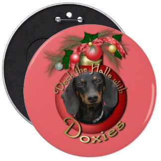 Christmas - Deck the Halls - Doxies Pinback Buttons