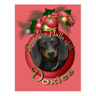 Christmas - Deck the Halls - Doxies Postcard