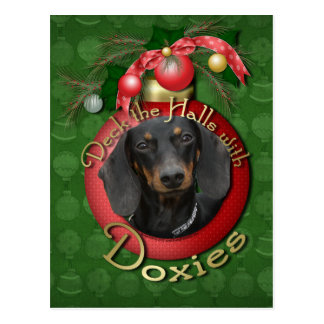 Christmas - Deck the Halls - Doxies - Winston Postcard