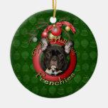 Christmas - Deck the Halls - Frenchies - Teal Christmas Tree Ornaments