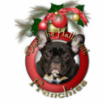 Christmas - Deck the Halls - Frenchies - Teal Photo Sculpture