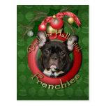 Christmas - Deck the Halls - Frenchies - Teal Postcard