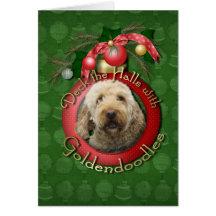 Christmas - Deck the Halls - Goldendoodles Card