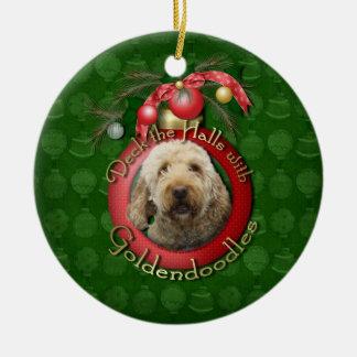 Christmas - Deck the Halls - Goldendoodles Ceramic Ornament