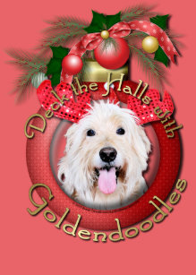 christmas deck the halls goldendoodles daisy ceramic ornament