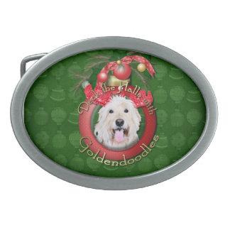 Christmas - Deck the Halls - GoldenDoodles - Daisy Oval Belt Buckle