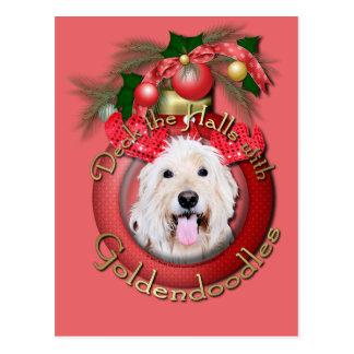 Christmas - Deck the Halls - GoldenDoodles - Daisy Postcard