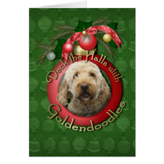 Christmas - Deck the Halls - Goldendoodles Greeting Card