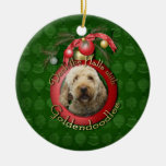 Christmas - Deck the Halls - Goldendoodles Double-Sided Ceramic Round Christmas Ornament