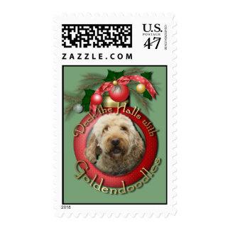 Christmas - Deck the Halls - Goldendoodles Postage
