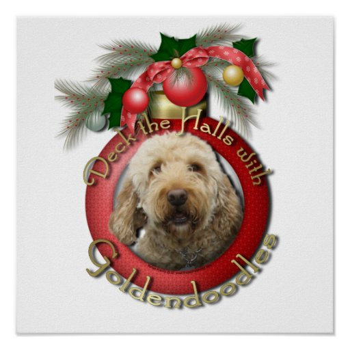 Christmas - Deck the Halls - Goldendoodles Print