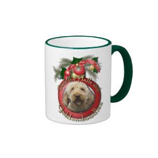 Christmas - Deck the Halls - Goldendoodles Ringer Coffee Mug