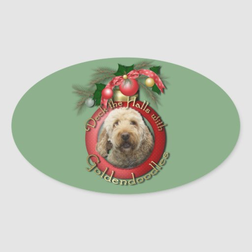 Christmas - Deck the Halls - Goldendoodles Oval Sticker