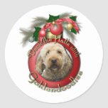 Christmas - Deck the Halls - Goldendoodles Round Stickers