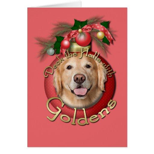Christmas - Deck the Halls - Goldens Greeting Card