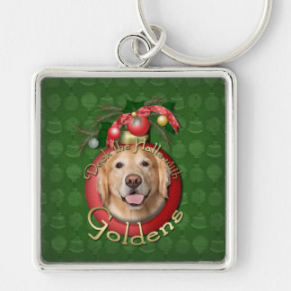 Christmas - Deck the Halls - Goldens - Corona Silver-Colored Square Keychain