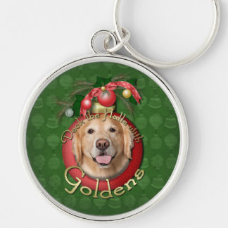 Christmas - Deck the Halls - Goldens - Corona Silver-Colored Round Keychain