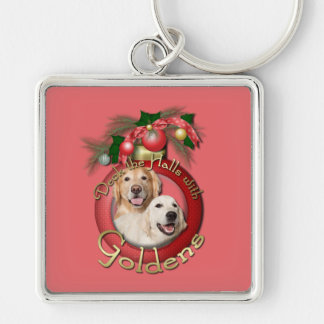 Christmas - Deck the Halls - Goldens Corona Tebow Silver-Colored Square Keychain