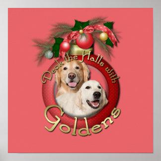 Christmas - Deck the Halls - Goldens Corona Tebow Poster
