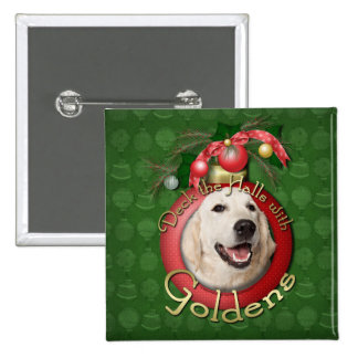 Christmas - Deck the Halls - Goldens - Tebow Pinback Button
